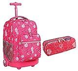 J World Back to School Combo Sunrise Rolling Backpack and Pencil Case Set (Aloha)