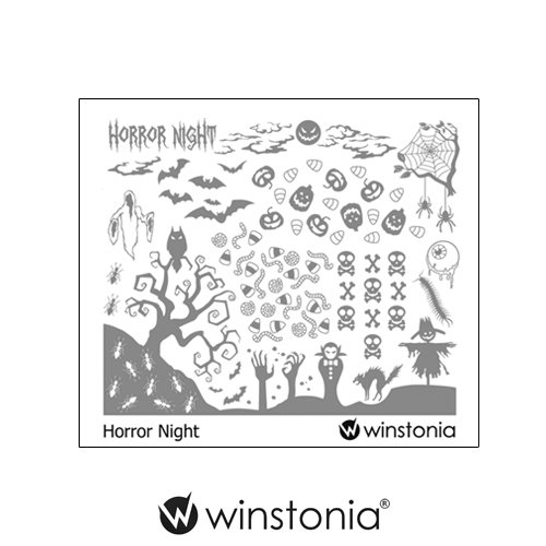 Winstonia Nail Stamping Plates Nail Art Image Manicure Template Halloween (Horror -