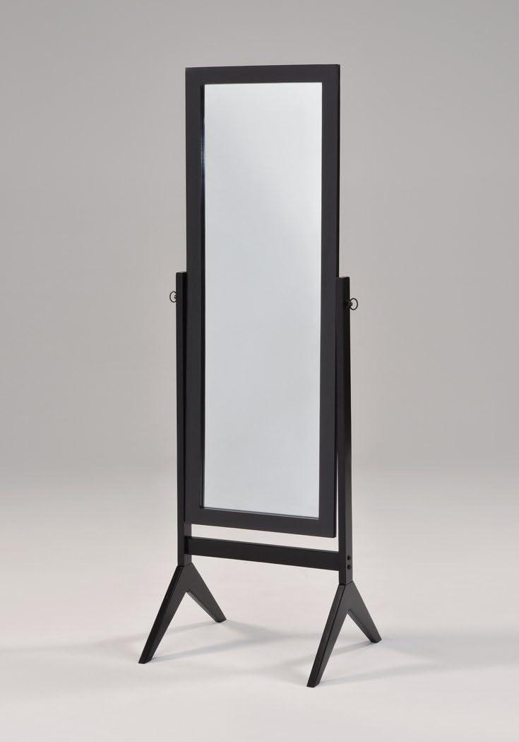 Black Finish Wooden Cheval Bedroom Free Standing Floor Mirror
