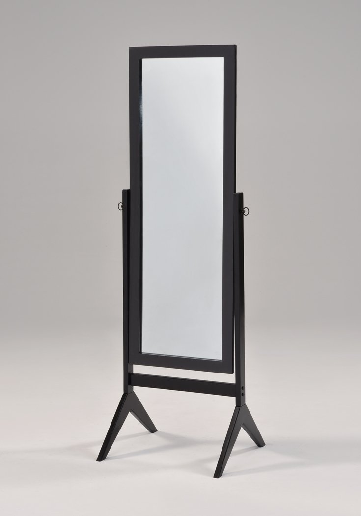 Black Finish Wooden Cheval Bedroom Free Standing Floor Mirror by eHomeProducts