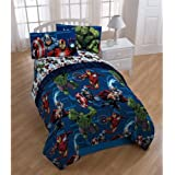 5 Piece Boys Marvel Avengers Theme Comforter Twin Set, All Over Fun Captain America Iron Man The Hulk Graphic Characters Pattern, Kids Superheroes Print Reversible Bedding, Navy Blue Red White