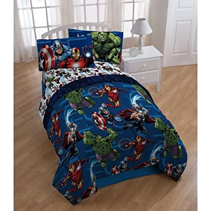 5 Piece Boys Marvel Avengers Comforter Twin Set