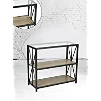 Reclaimed Driftwood Sonoma Glass Top Black Metal Frame 3-tier Console Table Bookcase Bookshelf