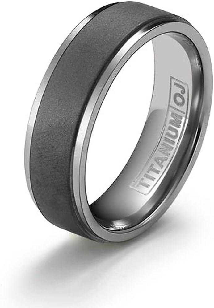 Bridal Wedding Bands Fancy Bands Titanium Black Enamel Flat 6mm Polished Band Size 12