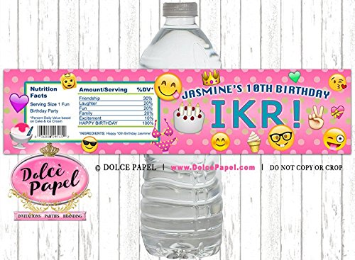 10 OMG IKR Emoji Theme Happy Birthday Any Age Water Bottle Labels for your Birthday Party or Event Pink Polka Dots Text Theme Birthday