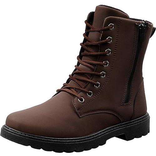 9e483ef716df6 Wealsex Martin Botas Retro Hombres Botas Cordón Cabeza Redonda Botas Cima  Mas Alta Zapatos De Hombre