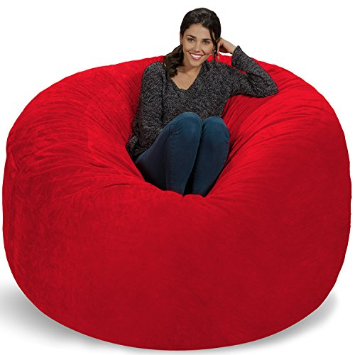 Chill Sack Bean Bag Chair: Giant 6' Memory Foam Furniture Bean Bag - Big Sofa with Soft Micro Fiber Cover, Red Furry
