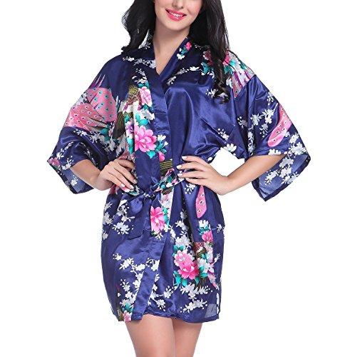 - Mobarta Women's Kimono Robe Short Satin Robe Bridesmaid Robes Peacock Silk Floral Robes Dark Blue