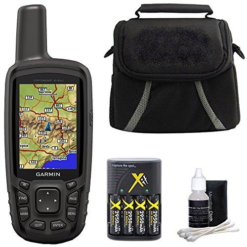 Garmin GPSMAP 64sc Handheld GPS 010-01199-30 w/ Compact Deluxe Gadget Bag Bundle by Garmin