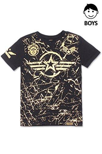 Boys Hipster Hip Hop Foil Paint Splatter W/Patch On Shoulder Black T-Shirt S by JC DISTRO