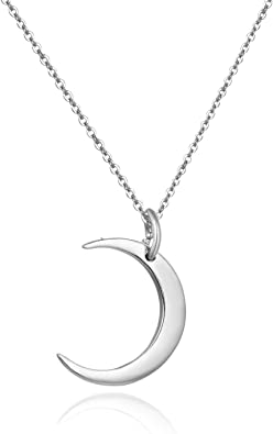 Silver Necklace Sterling Silver Crescent Moon Necklace Moon Necklace