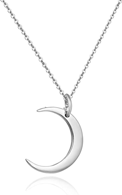 Gold Plated Sterling Silver Beaded Necklace Chain Black Agate Crescent Moon Necklace