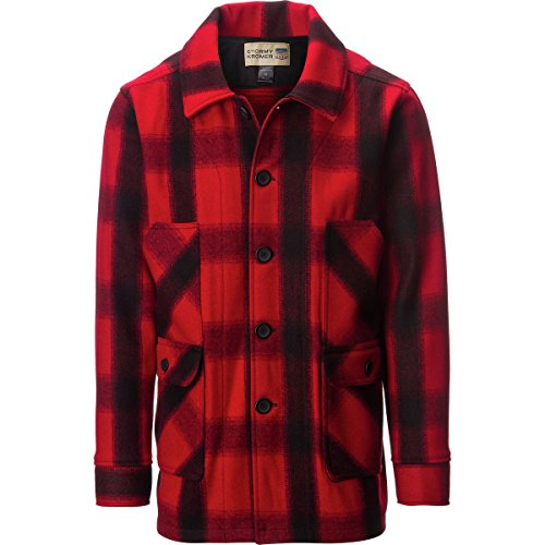 (Stormy Kromer Men Mackinaw Coat Red/Black Plaid L)