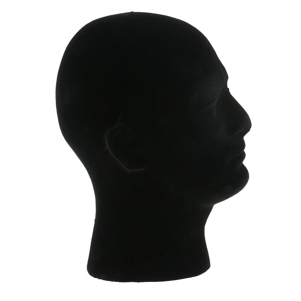MonkeyJack 11inch Man Male Styrofoam Flocking Mannequin Head Manikin Model for Wigs Hats Caps Glasses Headphone Display