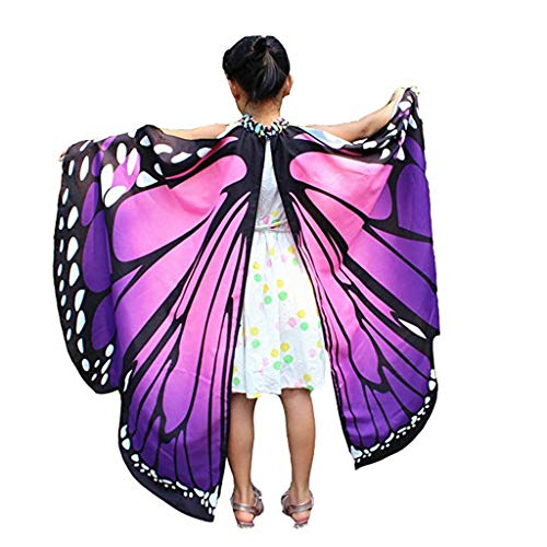 EONGERS Butterfly Wings Costume Party Prom Children Dress Up Novel Costumes (Pink and Purple)]()