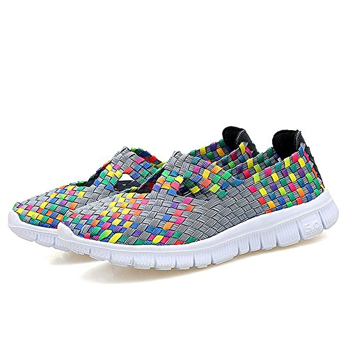 Rainlin Womens Multicolor Woven Fashion Sneakers Ademende Instappers Wandelschoenen Grijs