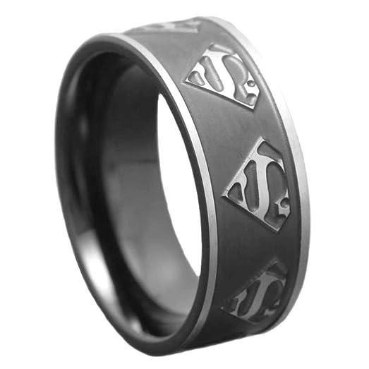 6mm Womens Titanium Ring Wedding Band Black Plated Satin Polish Ridged Edge Superman Badge Size 6
