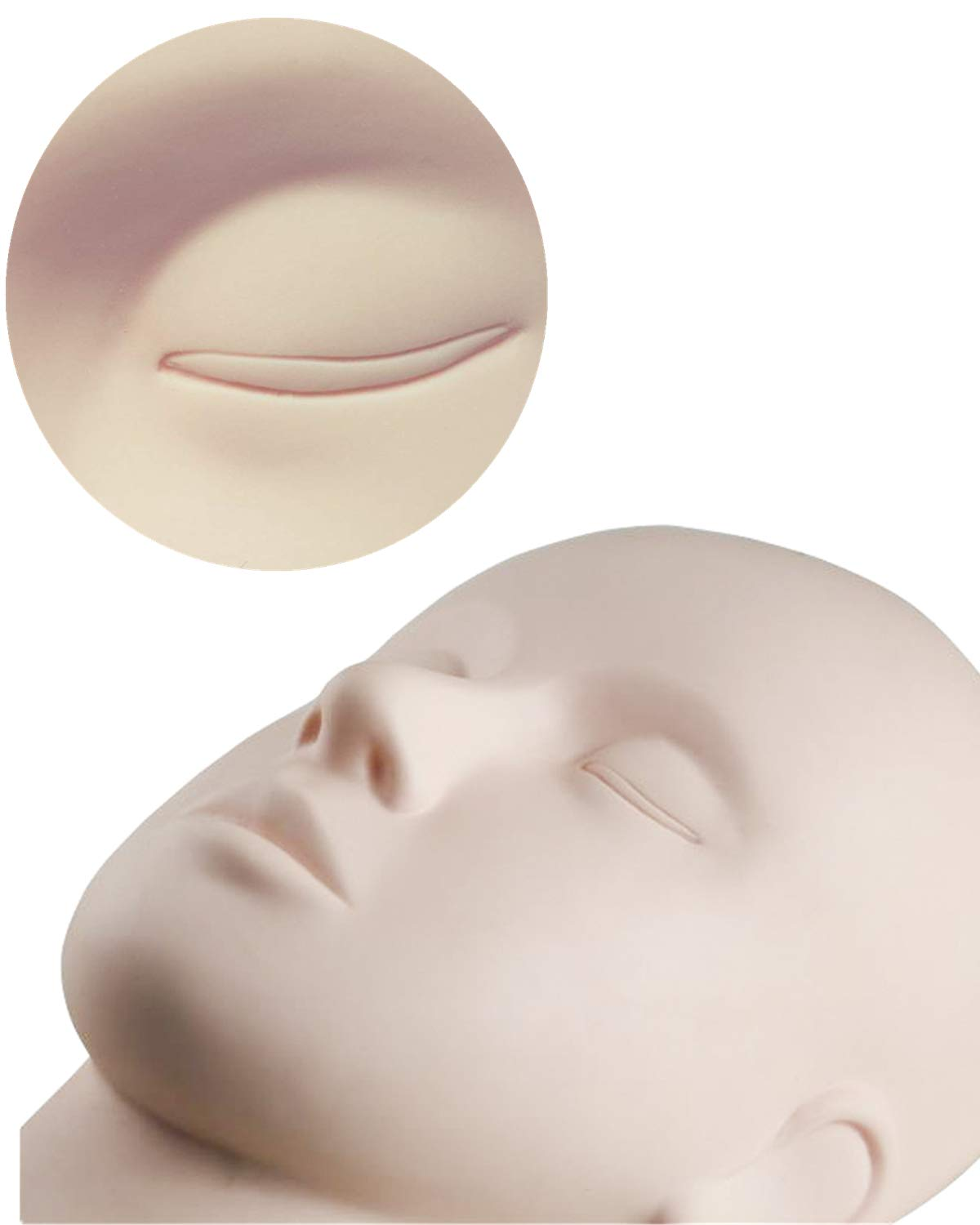 Practice Training Head Cosmetology Mannequin Doll Face Head for Eyelashes Makeup Practice HOMLICO