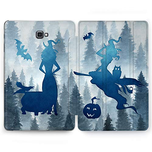 Wonder Wild Blue Witch Samsung Galaxy Tab S4 S2 S3 A Smart Stand Case 2015 2016 2017 2018 Tablet Cover 8 9.6 9.7 10 10.1 10.5 Inch Clear Design Cute Forest Broom Jack O Lantern Silhouette Girly Bat ()