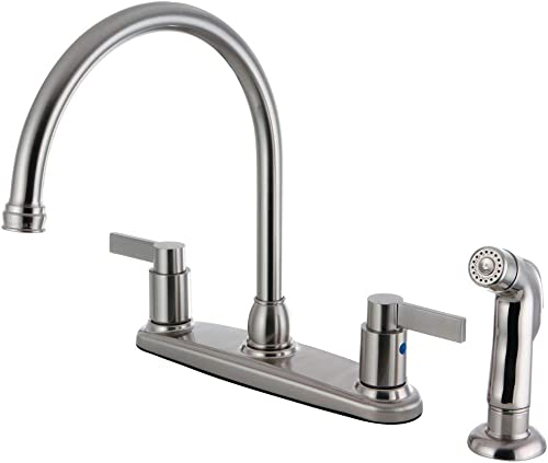 Kingston Brass FB2798NDLSP 8-3 4-Inch in Spout Reach NuvoFusion 8-Inch Centerset Kitchen Faucet with Matching Sprayer, Brushed Nickel