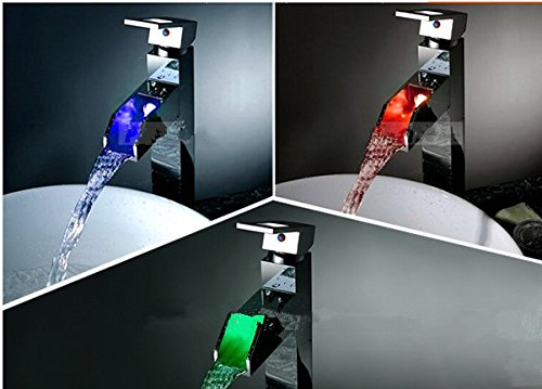 GOWE Chrome Finish Chrome Finish LED Color Changing Bathroom Waterfall Basin Sink Faucet Single Handle Mixer Tap Deck Mounted 0