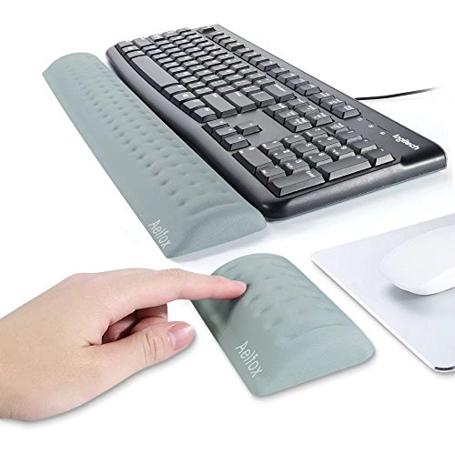 Aelfox Memory Foam Keyboard Wrist Rest&Mouse Pad Wrist Support, Ergonomic Design For Office, Home Office, Laptop, Desktop Computer, Gaming Keyboard (Gray) Ergonomic Keyboard Wrist Rest