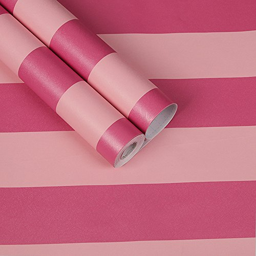 SimpleLife4U Pink Stripes Shelf Liner Peel & Stick Contact Paper Cover School Classroom Storage Boxes 17.8 Inch By 9.8 Feet