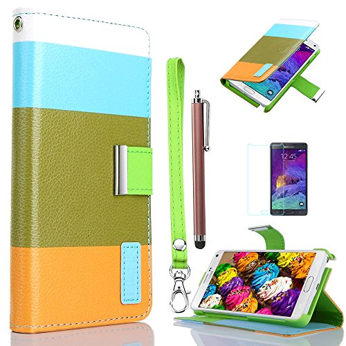 Samsung Galaxy Note 4 Case, ULAK Fashion Flip PU Leather Wallet Protective Phone Stand Case Cover with Cards Holder For Samsung Galaxy Note 4 with Stylus, Screen Protector (Sky Blue+Khaki+Orange)