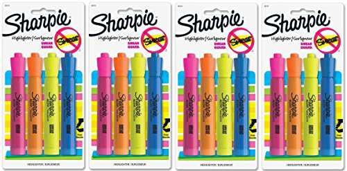 Sharpie Accent Tank-Style Highlighters, Colored Highlighters [25174PP] 4 Count (Pack of 4) Total 16 highlighters