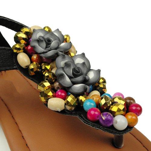 Ragazze Sandali Infradito Perline Con T-strap Colorati Perline Neri Taglia 9-4 Neri