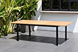 Amazonia Bowery Rectangular Patio Garden Dining Table | Extendable and Teak Finish | Durable and Ideal for Outdoors, Black