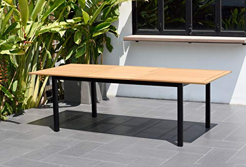 Teak Rectangular Table Set Dining (Amazonia Bowery Rectangular Patio Garden Dining Table | Extendable and Teak Finish | Durable and Ideal for Outdoors, Black)