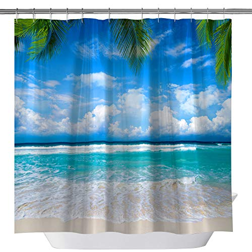 - Elite ETSPY Beach Shower Curtain Themed Decor,Exotic Lagoon and Sand Sea Ocean Paradise Pict Decorative Shower Curtain Waterproof Polyester Fabric, Bathroom Curtain Set with Hooks, 71X 71 in