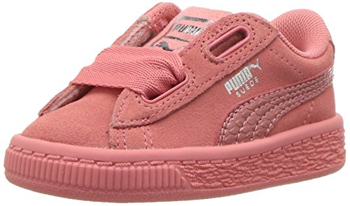 PUMA Unisex-Kids Suede Heart Snk,Shell Pink/Shell Pink,4.5 M US Big Kid