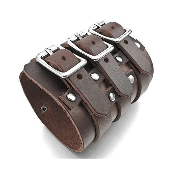 INBLUE Men's Alloy Genuine Leather Bracelet Bangle Cuff Silver Tone Brown Adjustable 3