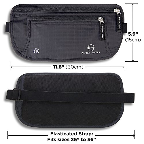 Alpine Rivers Money Belt - RFID Blocking Hidden Travel Wallet + 7 Bonus Sleeves