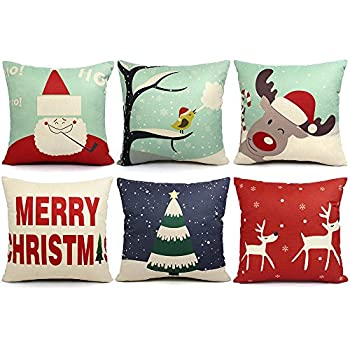 6 Packs Christmas Pillows Covers 18 X 18 Christmas Décor Pillow Covers  Christmas Decorative Throw Pillow