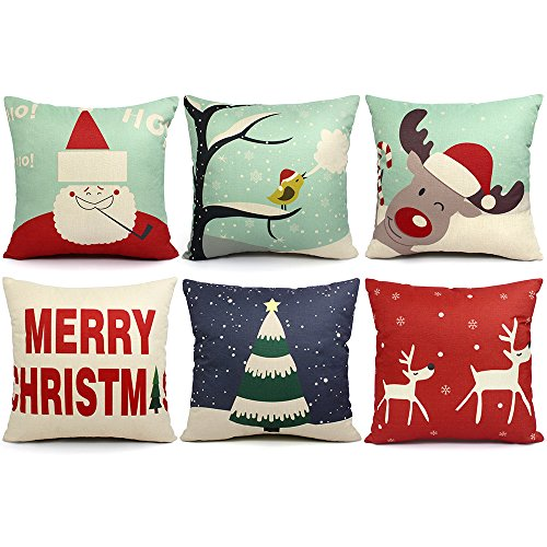 Outdoor Holiday Pillow (6 Packs Chirstmas Pillows Covers 18 X 18 Christmas Décor Pillow Covers Christmas Decorative Throw Pillow Case Sofa Home Décor)