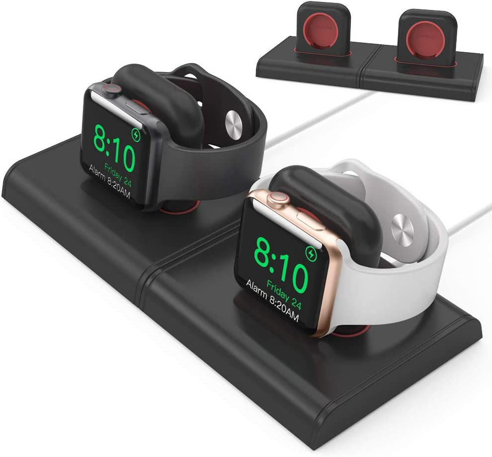 Delidigi Dual Charging Stand Dock ABS Desktop Holder Accessories [Magnetic Assembly] Compatible with Apple Watch Series SE/6/5/4/3/2/1(44/42/40/38mm), Supports Nightstand Mode(2 Pack, Black+Black)