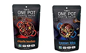Hak's One Pot Cooking Sauces - Korean BBQ & Chipotle Bourbon ~ 6 pouches