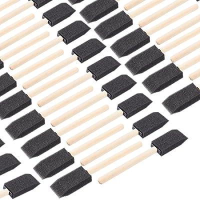 Pincel de pintura de espuma, pack de 120, pinceles de pintura de 2,5 cm con mangos de madera, ideal para acrílicos, manchas, barnizes, manualidades, arte: Amazon.es: Juguetes y juegos