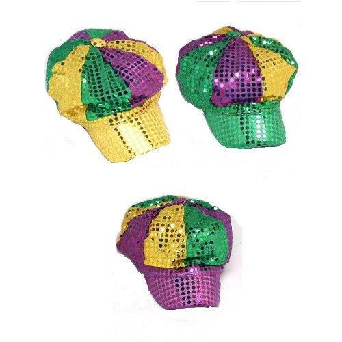 [Sequin Mardi Gras Newsboy Hat] (Hat Mardi Gras Costumes Accessories)