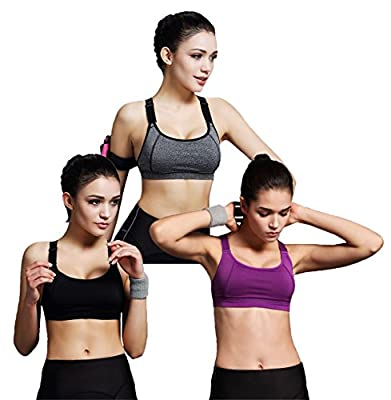 Fittin Women Padded Sports Bras High Impact Support Quickdry Workout Yoga Bra(FBA)