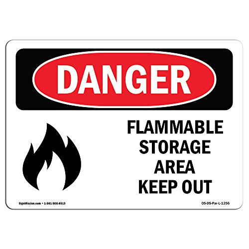 OSHA Danger Sign - Flammable Storage Area Keep Out | Choose from: Aluminum, Rigid Plastic Or Vinyl Label Decal | Protect Your Business, Construction Site, Warehouse & Shop Area | (Osha Flammable Storage)