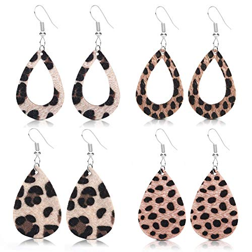 GIMEFIVE 4 Pairs Leather Teardrop Glitter Sequins Earring Lightweight Leaf Drop Bohemian Hollow Earrings for Women Girl (Leopard Print) ()