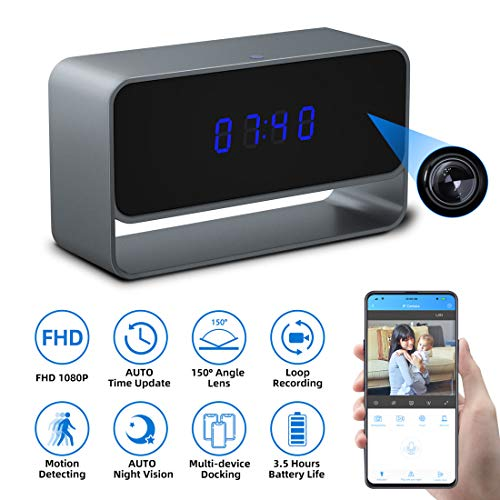 Spy Camera Clock, Monja Hidden Camera Clock, 1080p WiFi Cameras for Home, 150° Angle Nanny Cam, 24FT Auto IR Night Vision, Monitoring Detection, Loop Recording for Indoor Home Security Original