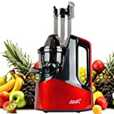 New Age Living SJC-1500 Masticating Slow Juicer | Best 45 RPM Cold Juicing Speed | Juices Whole Fruits, Vegetables, More | Modern Red Finish