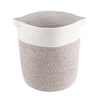 Lyricalife Woven Storage Basket, Large Pure Cotton Organizer 16x15x15inches, Tall Basket with Generously Sized Handles, Kids Toy Nursery Woven Laundry Basket