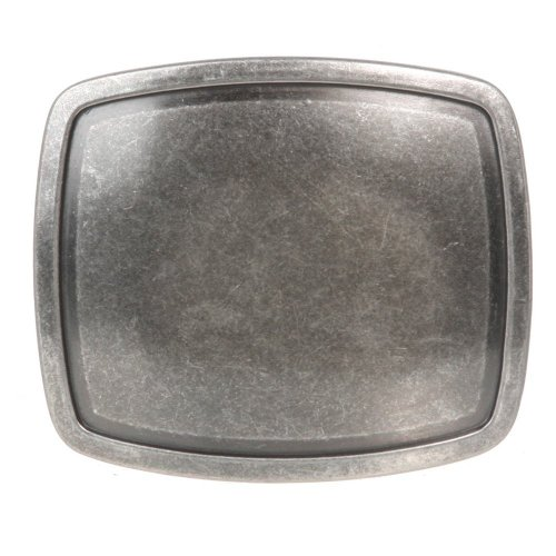 [Western Plain Rectangular Hammered Vintage Belt Buckle (Antic Silver)] (Mens Silver Belt Buckles)