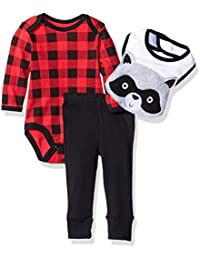 BON BEBE Baby Boys' 3 Piece Pant Set with 3d Bib and Bodysuit